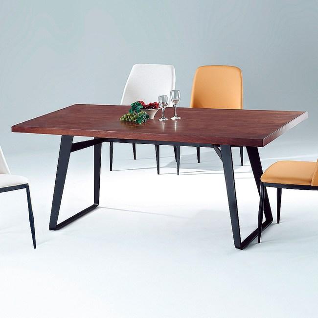 【YFS】艾倫黑砂鐵腳餐桌-180x90x75cm