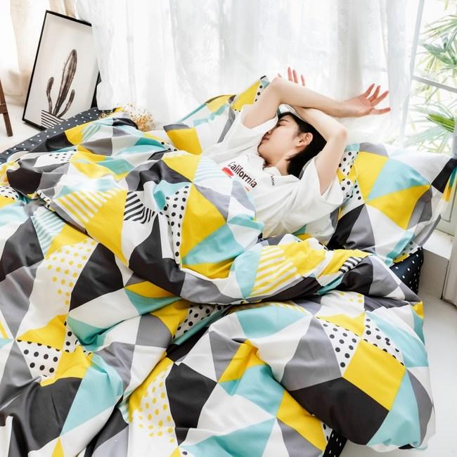 【eyah】台灣製200織精梳棉加大床包新式兩用被五件組-夜色才懂的美