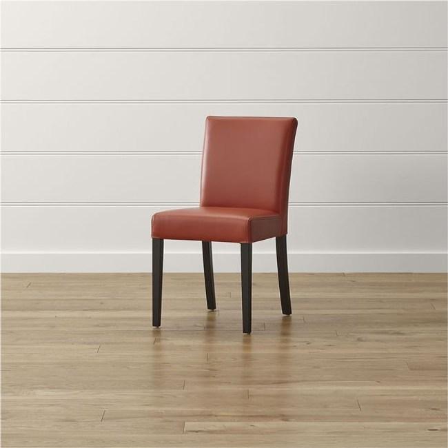 Crate&Barrel Lowe 皮質餐椅 紅柿色