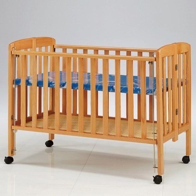 【YF】AS-安迪本色嬰兒床-128x60x106cm(附藤底+布底)