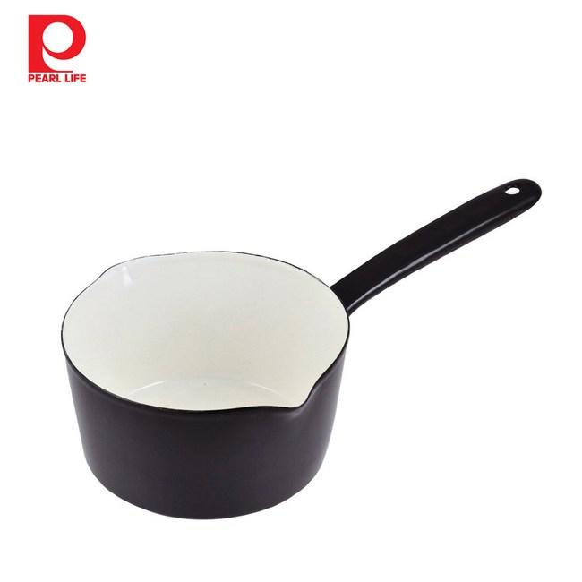 【日本珍珠金屬】琺瑯單柄牛奶鍋-職人黑15cm