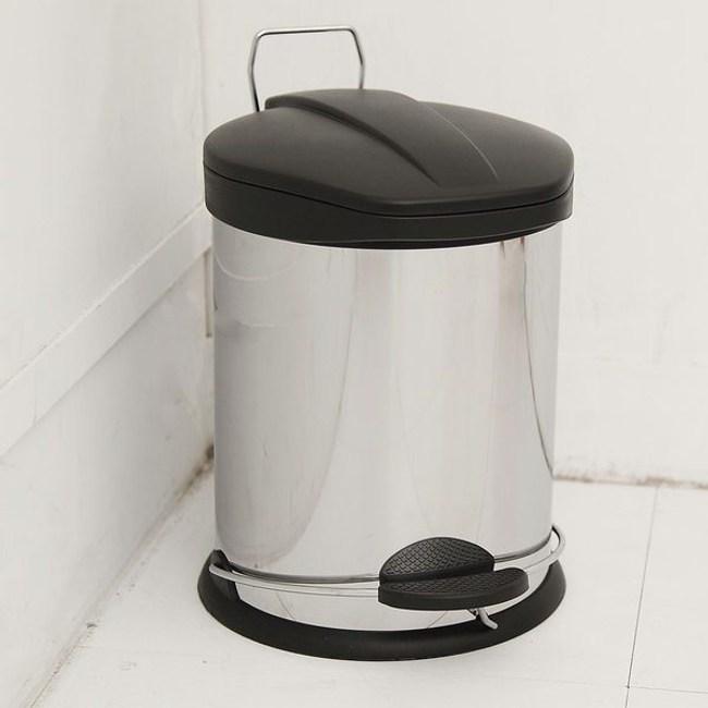 【H&R安室家】不鏽鋼腳踏垃圾桶-12L(台灣製造)