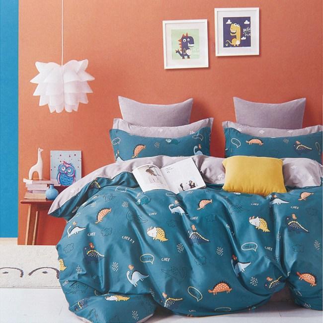 BUTTERFLY-柔絲絨枕套床包二件組-啾樂恐龍(單人加大)