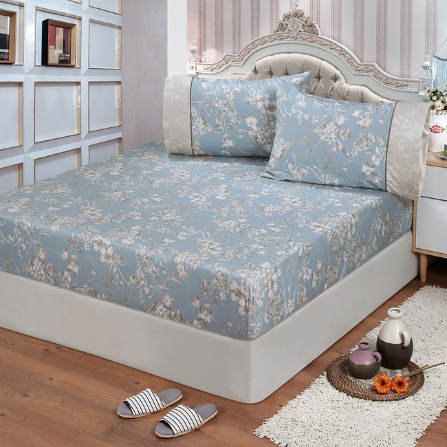 【FITNESS】精梳棉雙人床包+枕套三件組-莉蒂亞(藍)