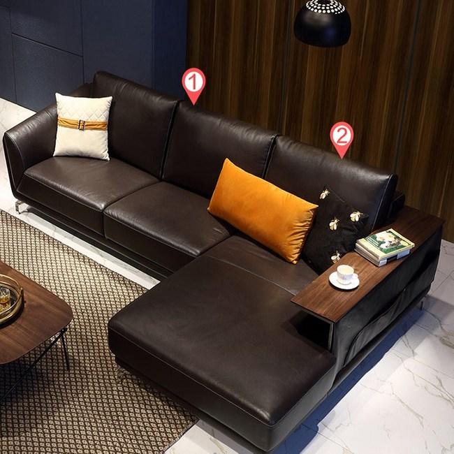 林氏木業現代簡約頭層牛皮L型左貴妃三人皮沙發(附抱枕)RAP1K-深棕色