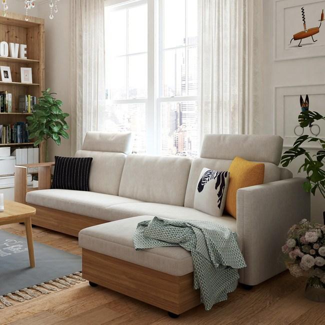 林氏木業簡約坐臥兩用轉角三人座沙發床(附抱枕) 1011-米白 (含腳踏)