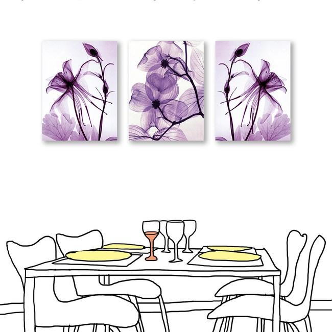 24mama掛畫 三聯式 紫色花卉 藝術無框畫 30x40cm