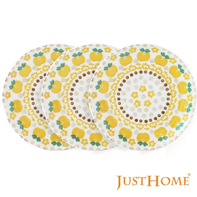Just Home日本製波蘭蘋果陶瓷6吋點心盤-4款花色(6件平盤) 黃蘋果