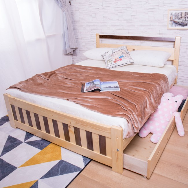 【YFS】若伊5尺實木抽屜板床-152x200x82cm
