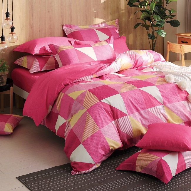 GOLDEN-TIME-質感生活-200織精梳棉兩用被床包組(粉-單人
