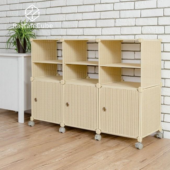 【藤立方】組合2層6格收納置物架(3門板+3隔板+附輪)-自然色-DIY