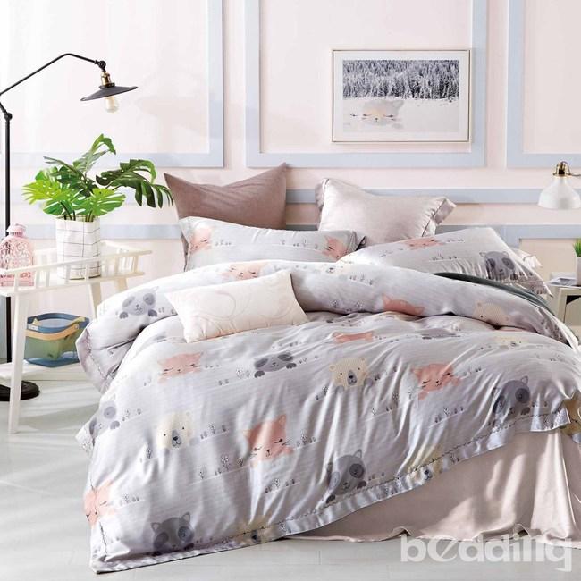 BEDDING-100%天絲三件式枕套床包組-樂園狂歡(特大)
