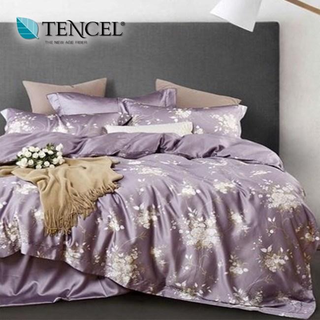 【貝兒居家寢飾生活館】裸睡系列60支天絲兩用被床包組(雙人/幽香如夢紫)