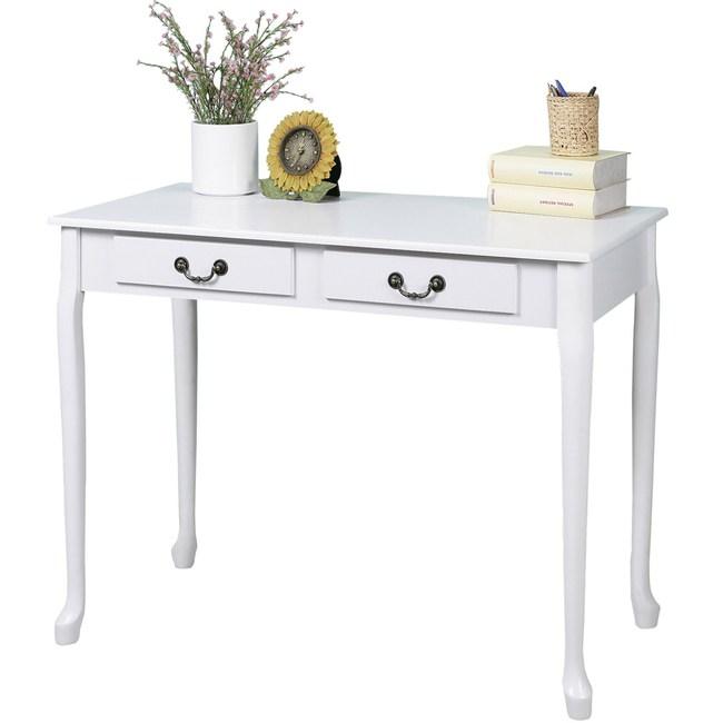 Homelike 典雅歐風二抽書桌-純白色