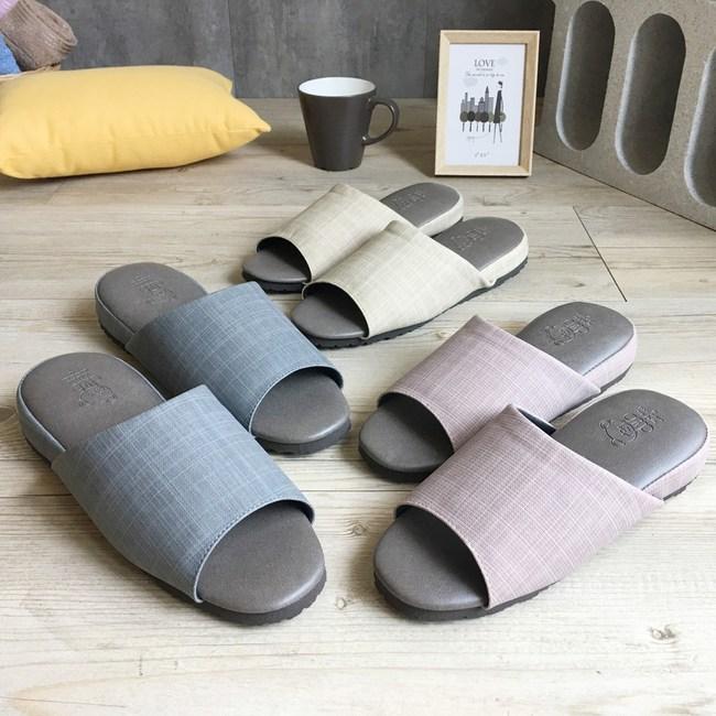 【iSlippers】極致風格-厚跟紓壓皮質室內拖鞋-D款精品灰-XL