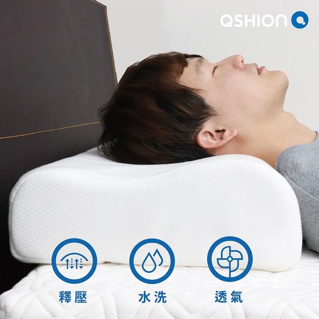 【QSHION】舒柔釋壓水洗枕-加高版(100%台灣製造 日本專利技術W34.5xL64.