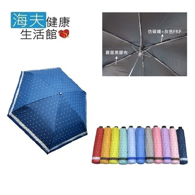 【海夫健康生活館】皮爾卡登 水玉圓點超輕 三折仿碳纖 雨傘(3465)深水藍