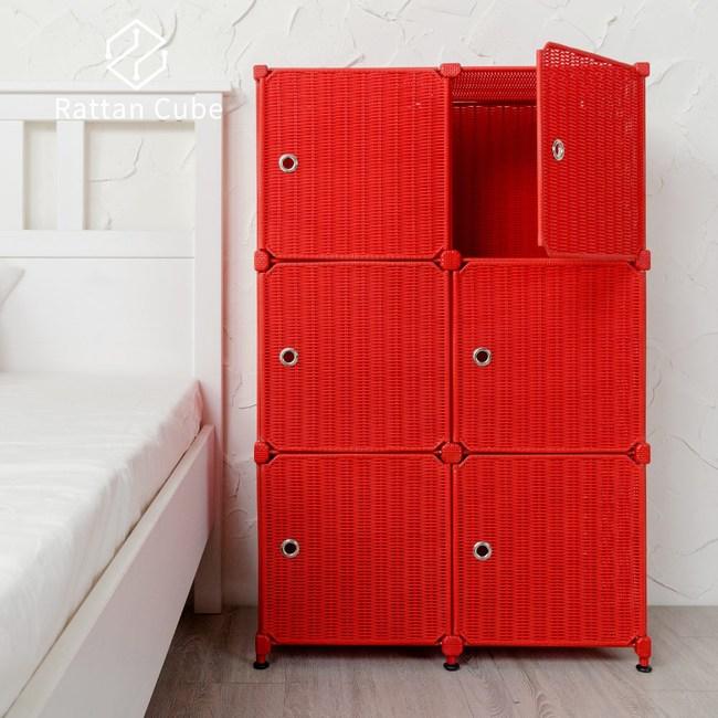 【藤立方】組合3層6格收納置物櫃(6門板+調整腳墊)-紅色-DIY