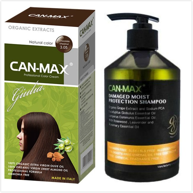 CAN-MAX義大利康媚絲有機染髮霜(3.05可可黑)*3+洗髮精*1