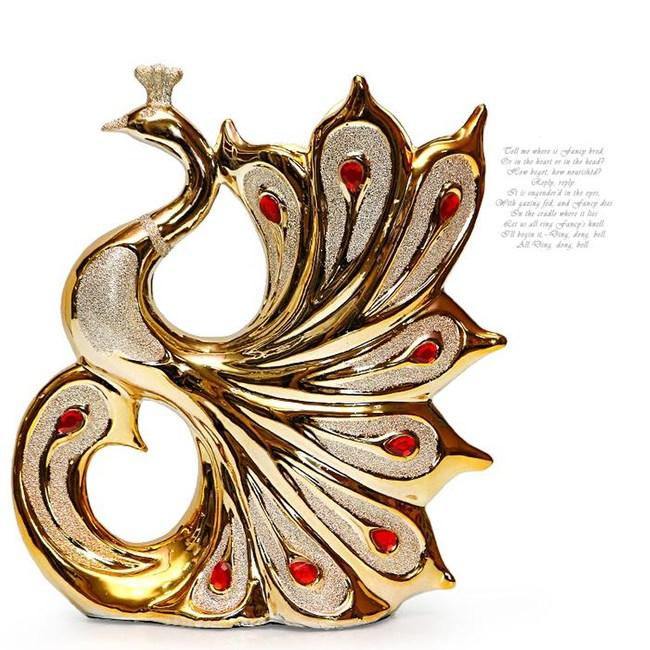 HONEY COMB 孔雀紅寶石陶瓷鍍金花器 FB184