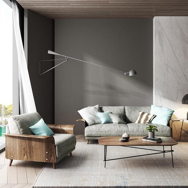 林氏木業北歐輕奢荷蘭絨1+3人布沙發(附抱枕)RAV1K-墨灰色