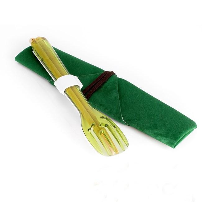 dipper│3合1環保餐具組-青嫩綠叉/陶瓷湯匙