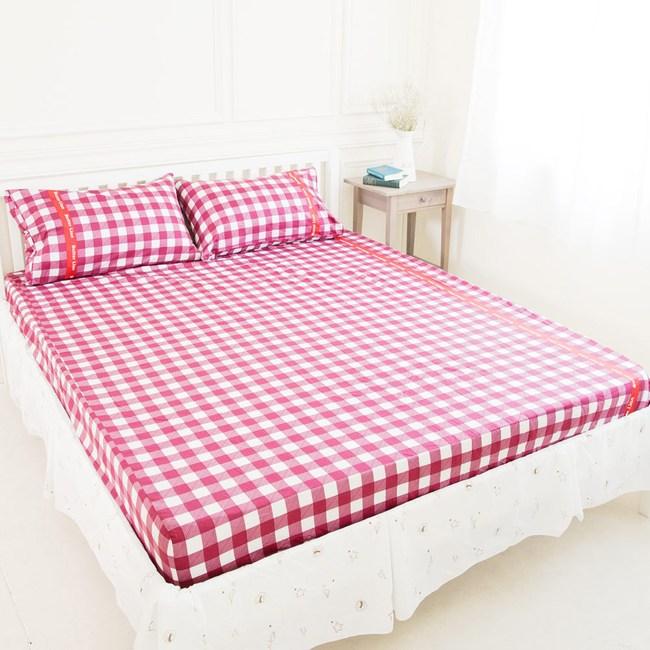 【奶油獅】格紋系列-100%精梳純棉床包三件組-紅(雙人加大6尺)
