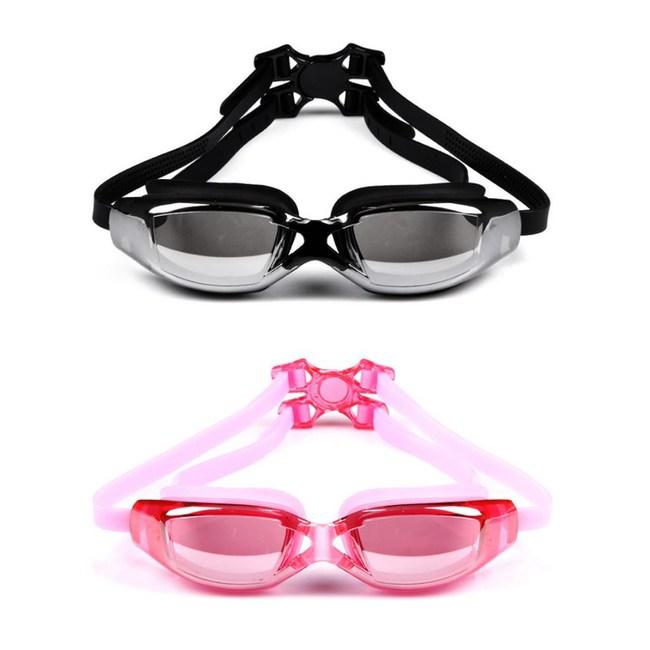 【COMET】電鍍平光大框防水防霧成人泳鏡(YY-6311)粉色