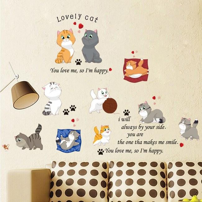 【Loviisa 玩耍貓咪】無痕壁貼 壁紙