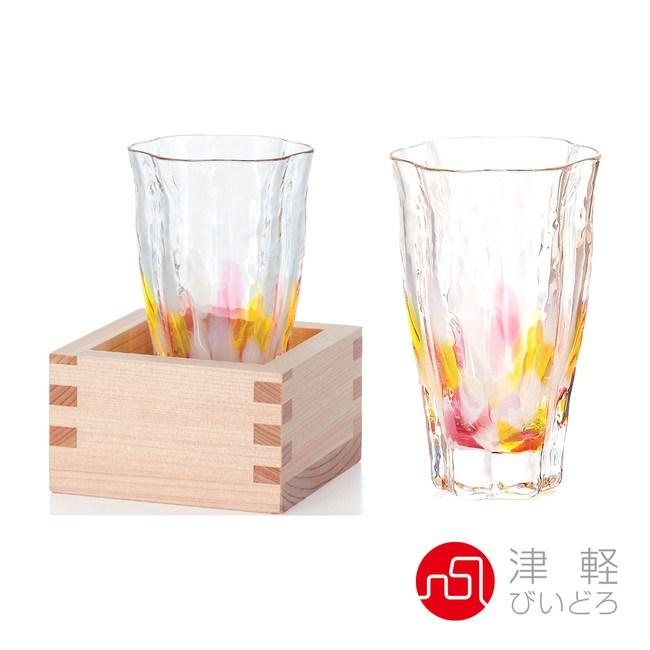 日本津輕 手作清酒杯(含木盒)-共2款山櫻黃