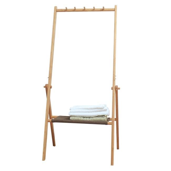 日式竹製折疊式衣帽置物架