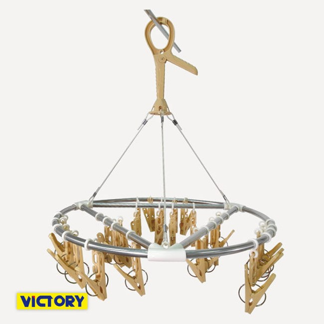 【VICTORY】不鏽鋼防風圓型曬衣架-27夾 #1228019