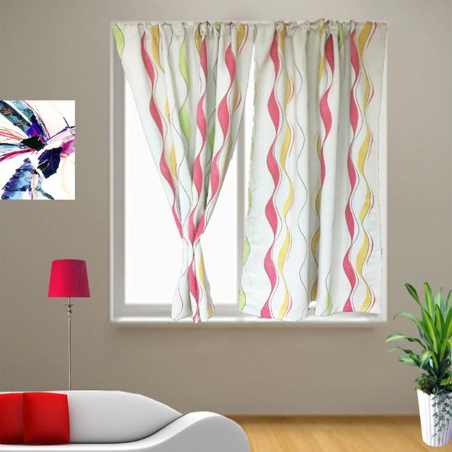 繽紛曲線遮光窗簾 寬290X高240cm