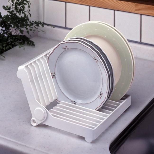 日本LEC折疊式淺薄餐盤收納架