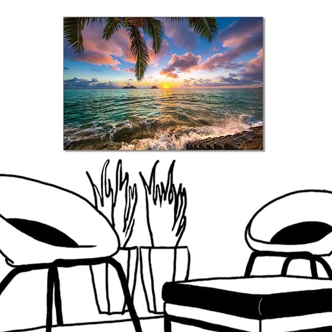 【24mama 掛畫】單聯式 油畫布 無框畫 60x40cm-海邊渡假無時鐘