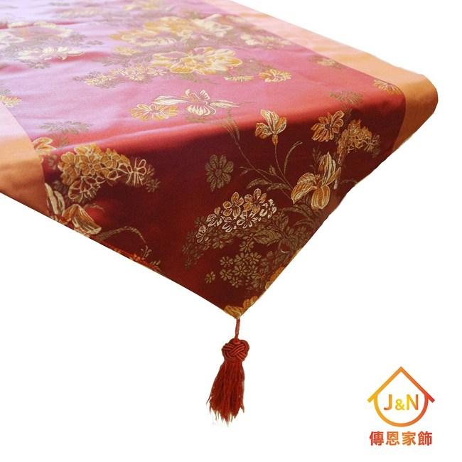 【J&N】麗緻古典檯布38*178●橘紅(1入)紅色