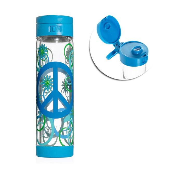 美國Glasstic安全防護玻璃水瓶470 ml彩繪款PEAC-掀蓋藍