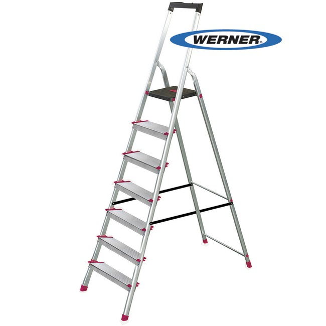 美國Werner穩耐安全鋁梯-L237R-2 鋁合金大平台7階家用梯/A字梯