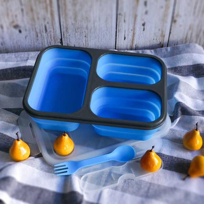 【Homely Zakka】伸縮收納矽膠分隔保鮮便當餐盒(藍色)