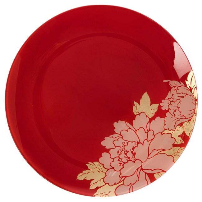 迎春盛宴系列 玻璃圓盤 30cm 紅色款