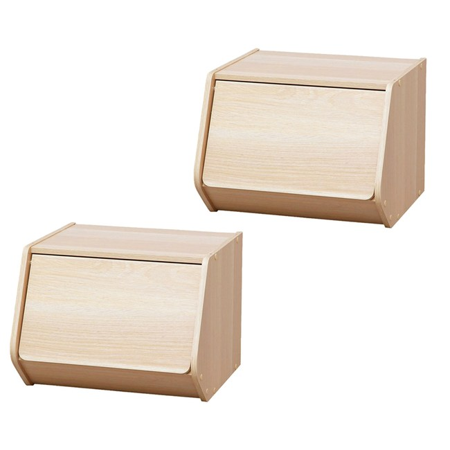 (組)日本IRIS木質可掀門堆疊櫃W40-淺木色(二入)