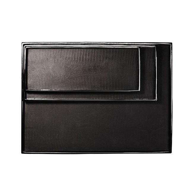 【Finara 費納拉】安朵珍珠魚紋防水餐廚生活收納盤(黑色L)
