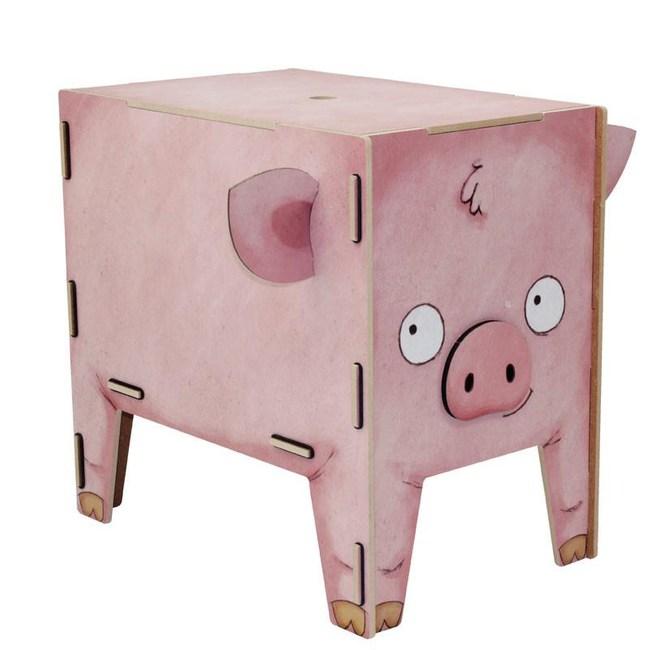 WERKHAUS 動物趣味收納箱 - 粉紅小豬