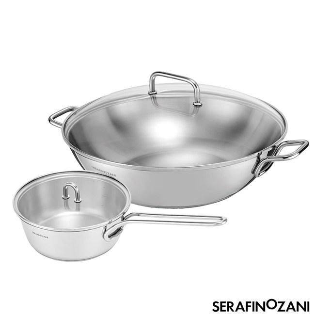 【ZANI】SYDNEY系列雙耳不鏽鋼34CM炒鍋贈牛奶鍋超值組