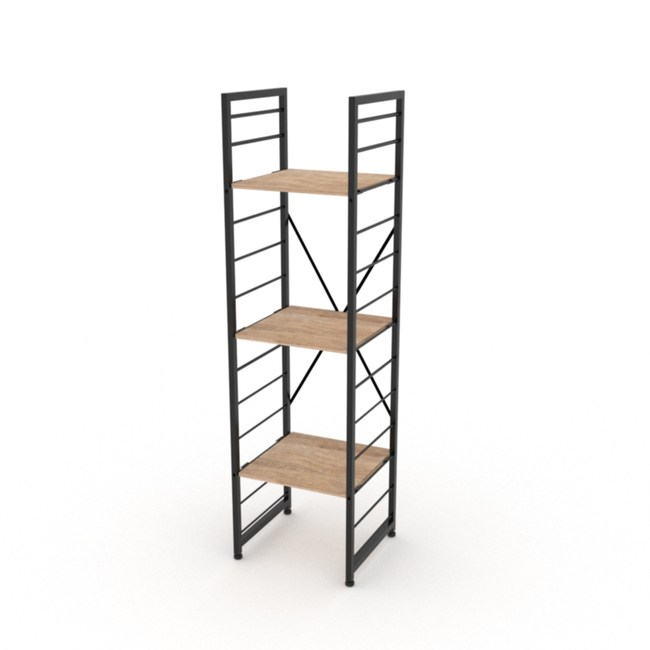 (組)特力屋萊特三層架黑框/淺木紋-40x40x158cm