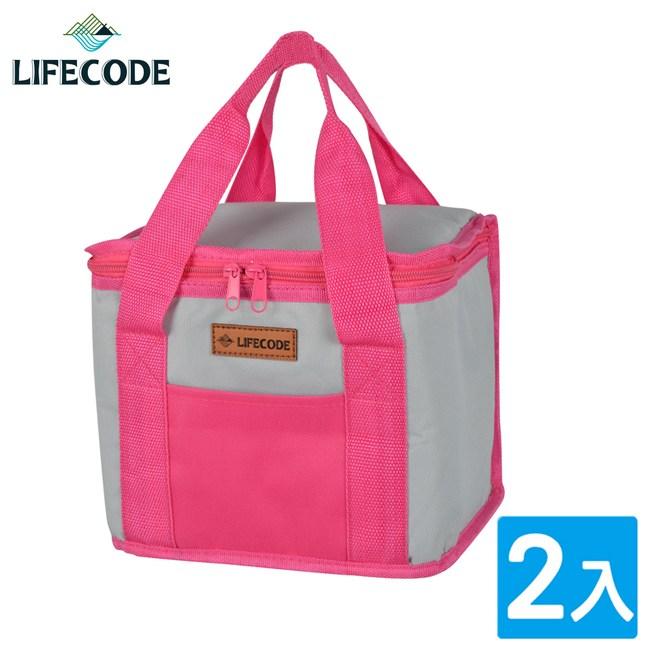 【LIFECODE】飯盒子保冰袋/便當袋-紅灰(2入)
