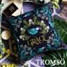 TROMSO奢華時尚叢林棉麻抱枕U182尊爵藍鳥