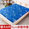 【米夢家居】夢想家園-精梳純棉5cm床墊布套-雙人加大6尺(深夢藍)