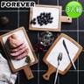【日本FOREVER】北歐時尚竹製大理石輕食盤/附柄托盤-三入組