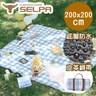【韓國SELPA】加大繽紛野餐墊 皮革綁帶限量款(兩色任選)藍色格紋